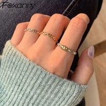 Foxanry – bagues de visage Smiley en argent Sterling 925, bijoux de mariée, nouvelle mode Vintage chaîne géométrique, accessoires de fête, cadeau
