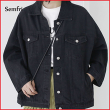 Semfri Black Denim Jacket Women Autumn Winter Jeans Jacket