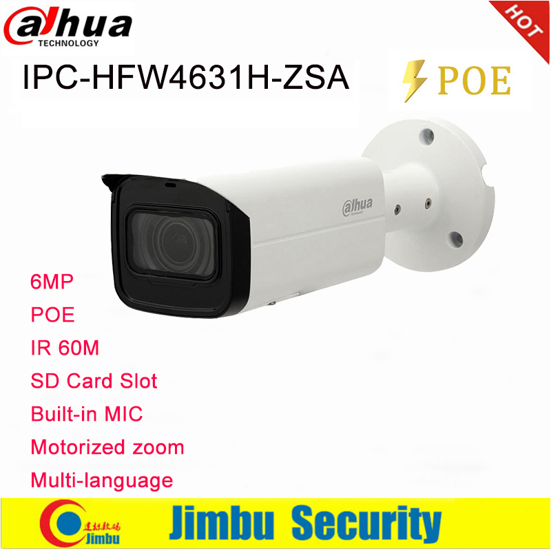 Dahua IP Camera 6MP IPC-HFW4631H-ZSA 2.7~13.5mm  Upgrade Version Of IPC-HFW4431R-Z With Build In Microphone SD Card Slot PoE