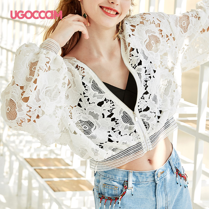 UGOCCAM Lace Coat Lace Jacket Hollow Out White Zipped Up Elegant Cotton Mesh 2019 Ladies Transparent Streetwear Trench Coat