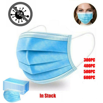 25/50/100/300/600PCS Disposable Cycling Face Mask Sports Mouth Cover 3ply Ear Loop Mouth Cover MTB Road Bike Respirator Facemask