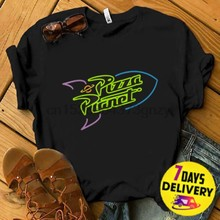 Pixar Toy Story 4 Pixar Toy Story Pizza Planet Rocket Ship Neon T Shirt(China)