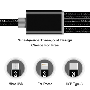 Image 3 - CHOETECH 3 in 1 Mobile Phone Cable For iPhone 8 7 Plus Nylon Braided Micro USB Cable Type C For Samsung S8 S9 Charging Cables