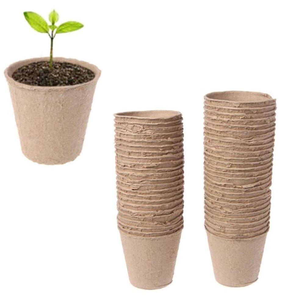 50 шт. 6 см бумажный горшок для растений, стартеры для рассады, травы, семена, набор для детского сада, органический биоразлагаемый экологичес...
