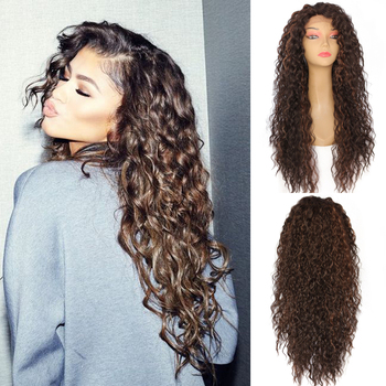 Lvcheryl Hand Tied Kinky Curly Type Soft Ombre Brown Highlight Heat Resistant Synthetic Lace Front Wigs for Women