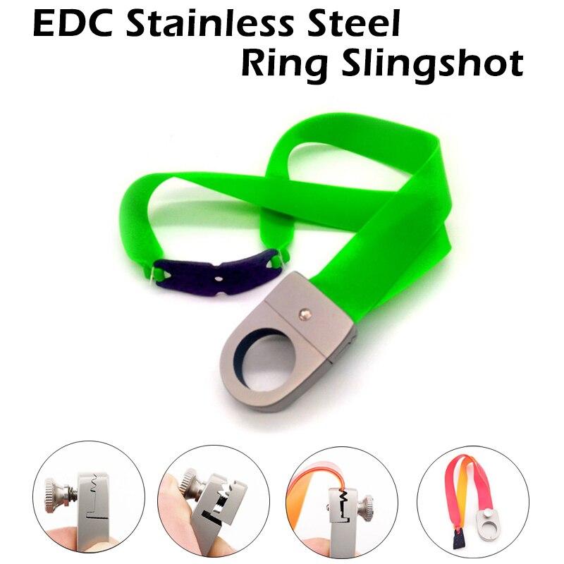 EDC Portable Outdoor Stainless Steel Ring Slingshot Mini Pocket Power Finger Slingshots Self Defense  Dropship Security Protect