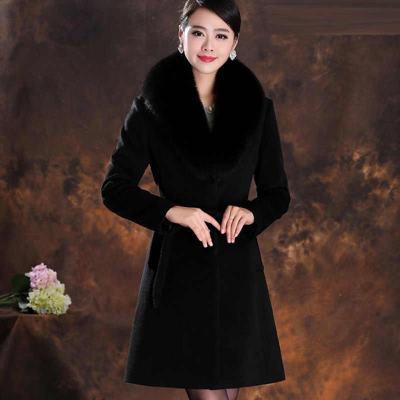 Winter Mantel Weibliche Herbst Kleidung 2019 Koreanische Elegante Damen Wolle Mantel Echt Fox Pelz Kragen Schlanke Lange Woll Jacke LW1507