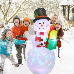 Image 4 - OurWarm Christmas Inflatable Greeting Snowman Santa Claus 5ft Giant Inflatable Blow Up Toy Garden Yard Decoration With LED Light