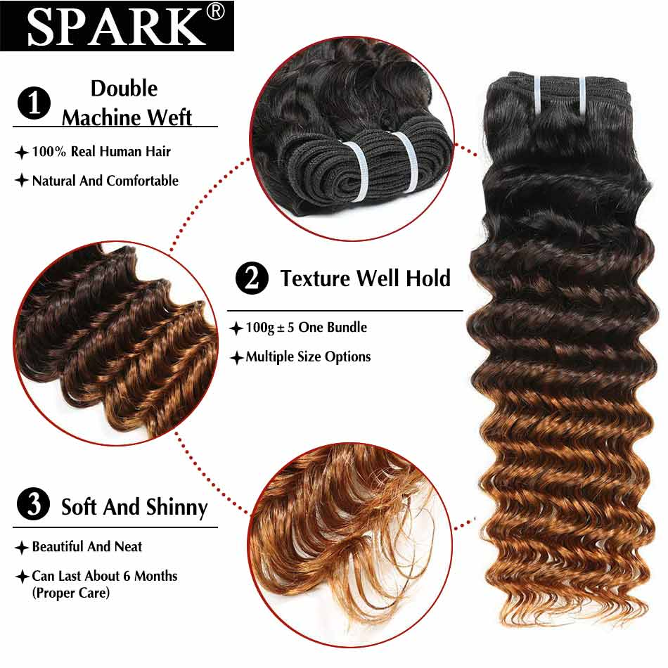 SPARK Ombre Brazilian Human Hair Weave Deep Wave Bundles With Closure Medium Remy Hair Human Hair With Closure For Black Women