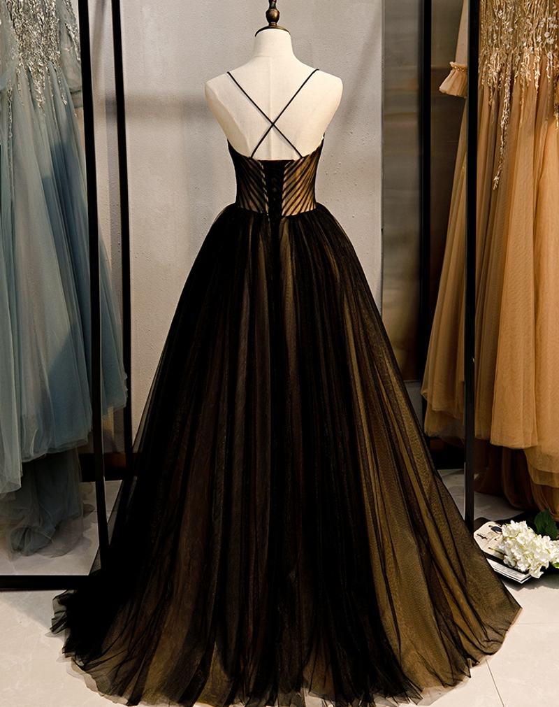 Charming New Pleats Black and Champagne Tulle Long Evening Dresses 2020 Straps Formal Party Dress Prom Gowns Vestidos De Gala