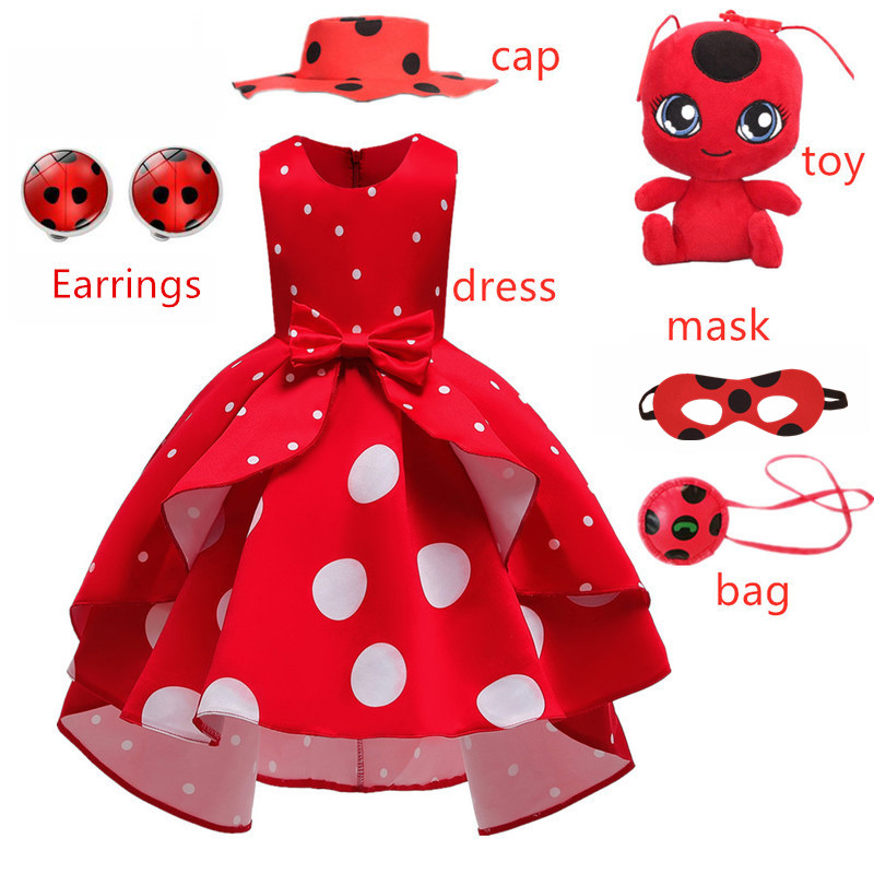 Carnival girls New Red bug  birthday Party Dress toys Retro Costume Kids Girl Clothes Redbug  White dot Halloween Cosplay Dress