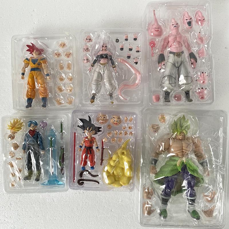 SH Figuarts SHF Dragon Ball Figure Anime Majin Buu Vegeta Android Trunks Super Saiyan Son Gokou Goku Broly Action Figures Toy