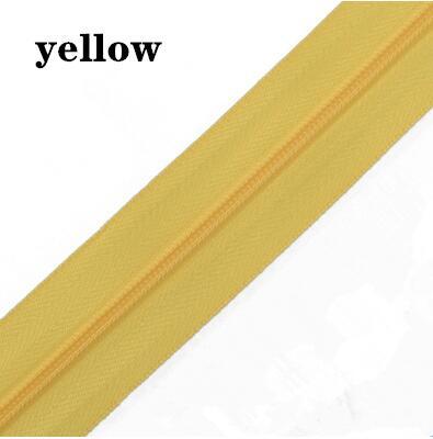5 м длинная молния нейлон 3# пододеяльник подушка одеяло невидимая молния двойная молния черный и белый - Цвет: LYTELLOW