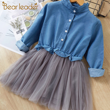 Bear Leader Girls Dresses 2019 New Fashion Princess Clothing Cowboy Stitching Net Yarn Ball Gown Girls Dresses Clothes For 3-7Y