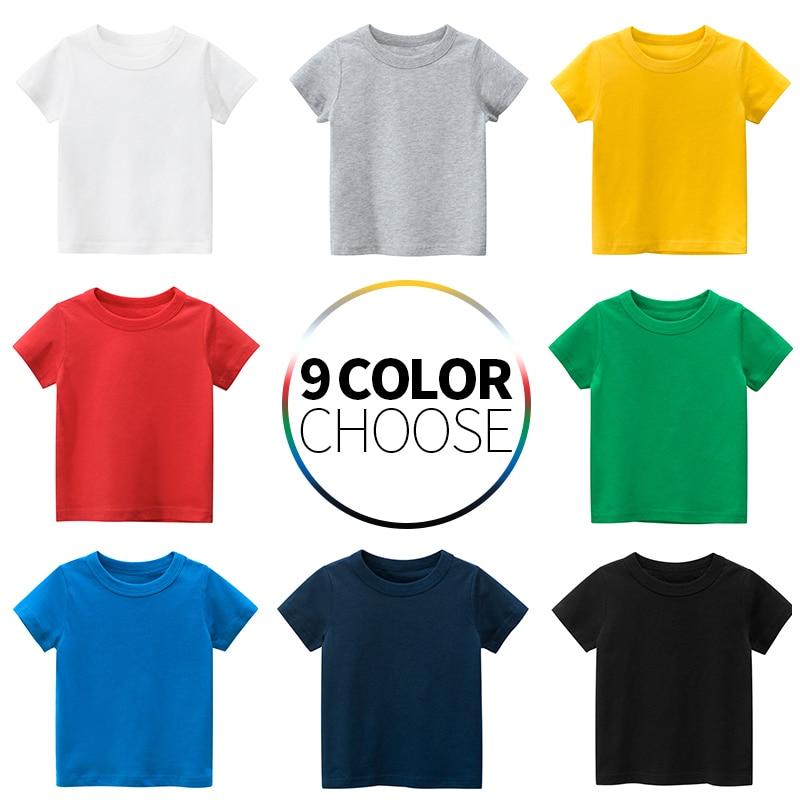 Детская футболка; Топы для маленьких мальчиков; Хлопковая одежда с короткими рукавами для девочек; Детская Базовая цветная одежда; Футболки для малышей; Новинка 2020 года; Одежда Тройники      АлиЭкспресс