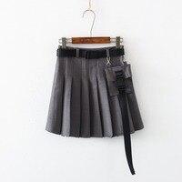 Harajuku Gothic Style Pleated Skirt Women Korean Ulzzang Casual Punk Girls Cargo Streetwear Uniform School A Line Mini Skirts