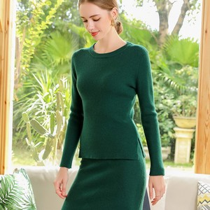 Image 2 - 2 Pieces Sets 100 Cashmere Women O neck Pullover and Skirt Sets Knit Solid Slit Skirt 2019 Winter Sweater Soft Knitwear Sweaters