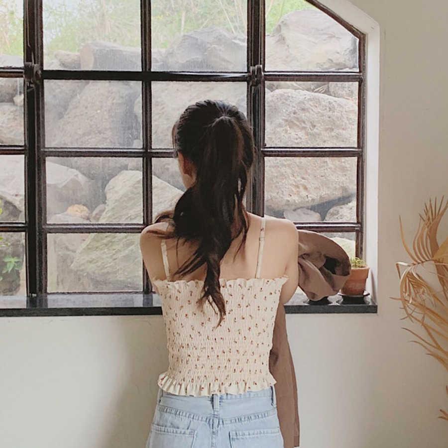 2019 Sexy di Estate Floreale Stampato a Pieghe Canotta da Donna Increspato Sottile Coreano Della Maglia Donna Backless Dolce Bretelle Delle Ragazze Delle Donne
