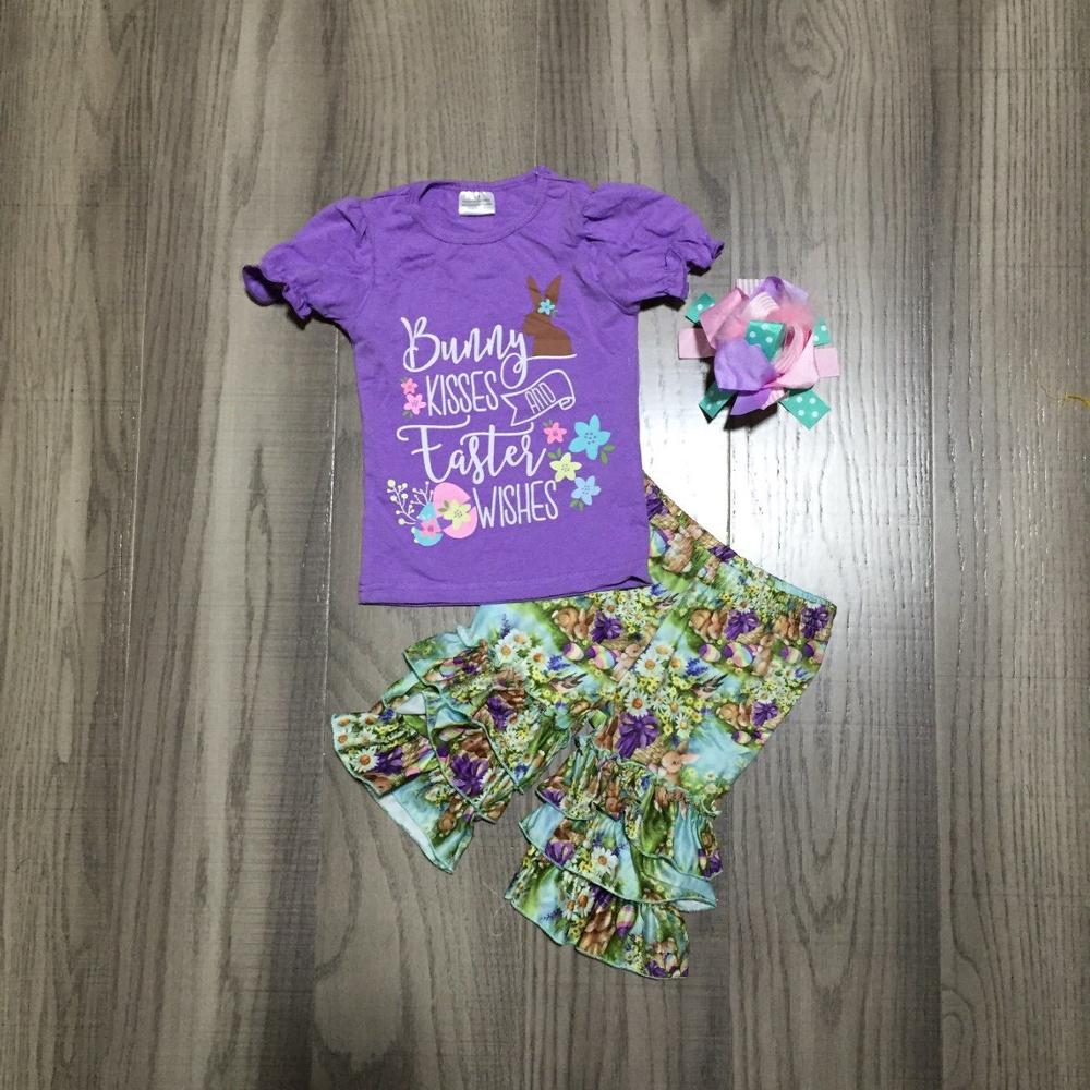 Baby Girls Easter Outfits Girls Purple Bunny Shirt With Floral Capri Pant Girls Cute Outfit With Bow