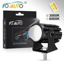 Motosiklet LED far Lens ile 6000K 3000K süper parlak çalışma Spot ışıkları motosiklet sis sürüş lambası scooter Moto ampul