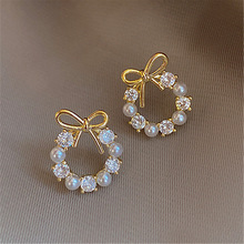 Stud-Earrings Jewelry Crystal Gift Oorbellen Round Imitation-Pearls Elegant Korean Women