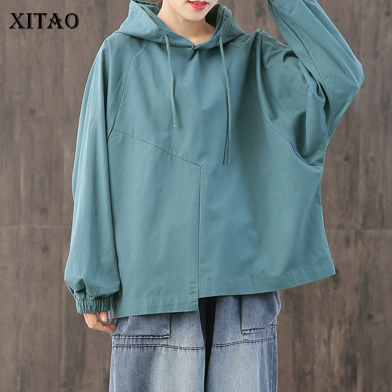 XITAO Drawstring Pleated Hoodies Fashion Hoodies 2020 Spring Elegant Small Fresh Plus Size Elegant Small Fresh Hoodies DMY2884