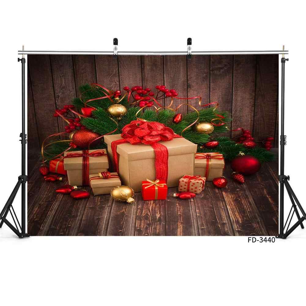 Regalo de Navidad tablero de madera suelo telón de fondo decoración Baby Shower recién nacido Navidad fotografía Fondo estudio fotográfico photocall Props