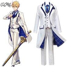 Fate grand orde fgo sabre rei arthur cosplay traje roupa pendragon branco rosa rei dos cavaleiros cosplay