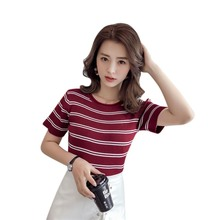 Fashion Striped Short Sleeve T Shirts Women Slim Knitted T-Shirt Female Casual Top Tee NS