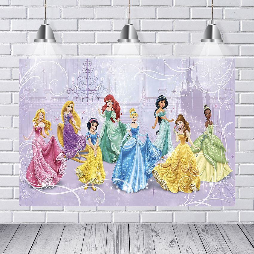 Cartoon Princess Photography Backdrop Customized Girls Birthday Party Backgrounds For Photo Studio 7x5FT Vinyl Photo Backdrop