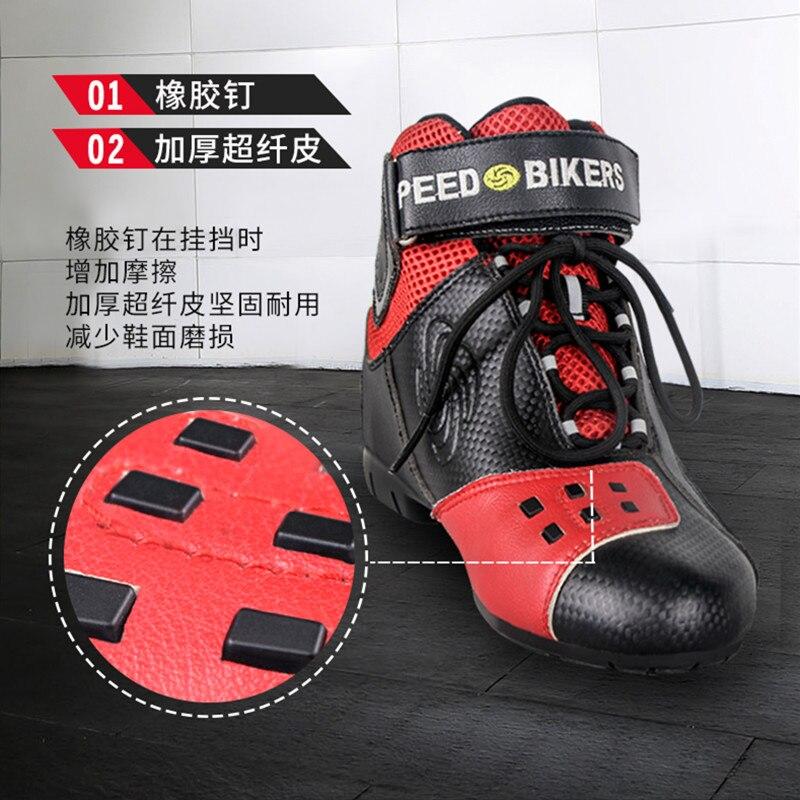 Bottes de moto en cuir microfibre respirant anti dérapant Anti collision équitation chaussures de protection Design de mode coloré A016 - 3