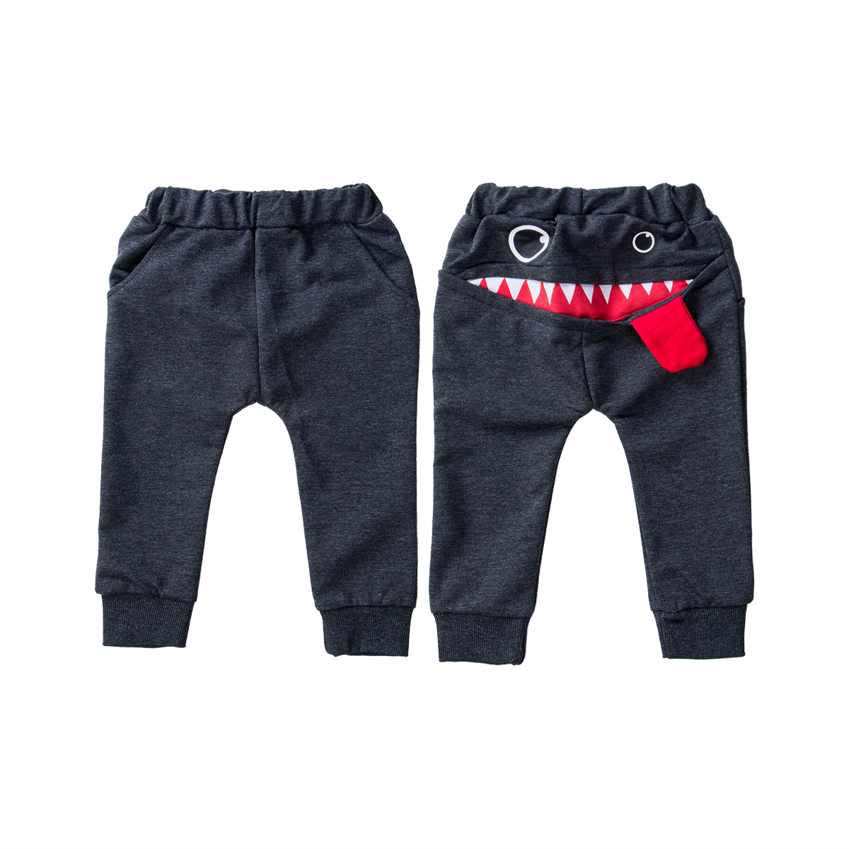 Baby Boys Big Mouth Monster Print Long Pants Bottom Joggy Leggings Toddler Kids Boys Trousers Cotton Baggy Jogger Clothes 0-4Y