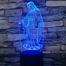 3d Led light Blessed Virgin Mary 7 Color 3d Led Night Lamps For Kids Touch Led Usb Table Lampe Baby Sleeping Light God bless you