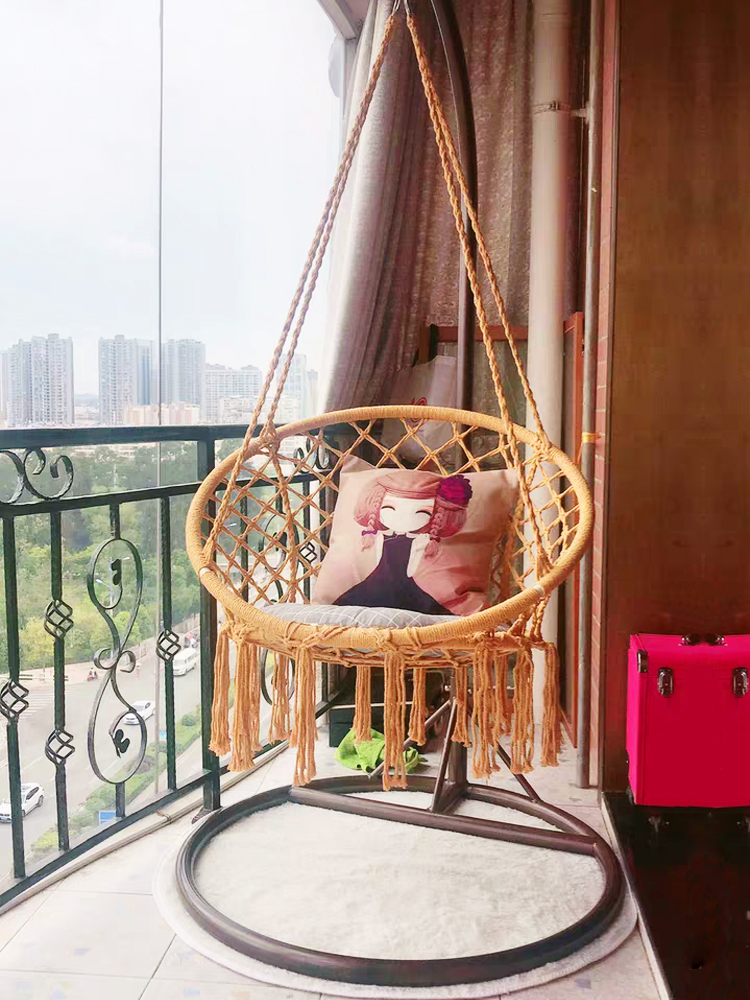 Ins Hanging Chair Net Red Indoor Tassel Homestay Home Cotton Rope North European Living Room Cradle