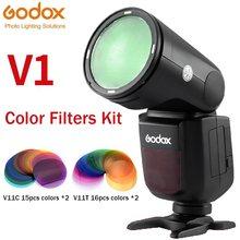 Godox V11C V11T Kleur Effecten Set Kleur Temperatuur Aanpassing Set Voor V1 H200R AK-R1 Ronde Flash Hoofden 30 Pcs Kleur gel Filters