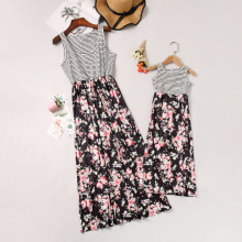 Mom and Daughter Dress Gray Striped Black Floral Dress Mother and Daughter Clothes Family Look Mother Daughter Dresses Cotton family look clothes brand european black rose pleated a shape sleeveless skirts women midi sundress mother and daughter dresses