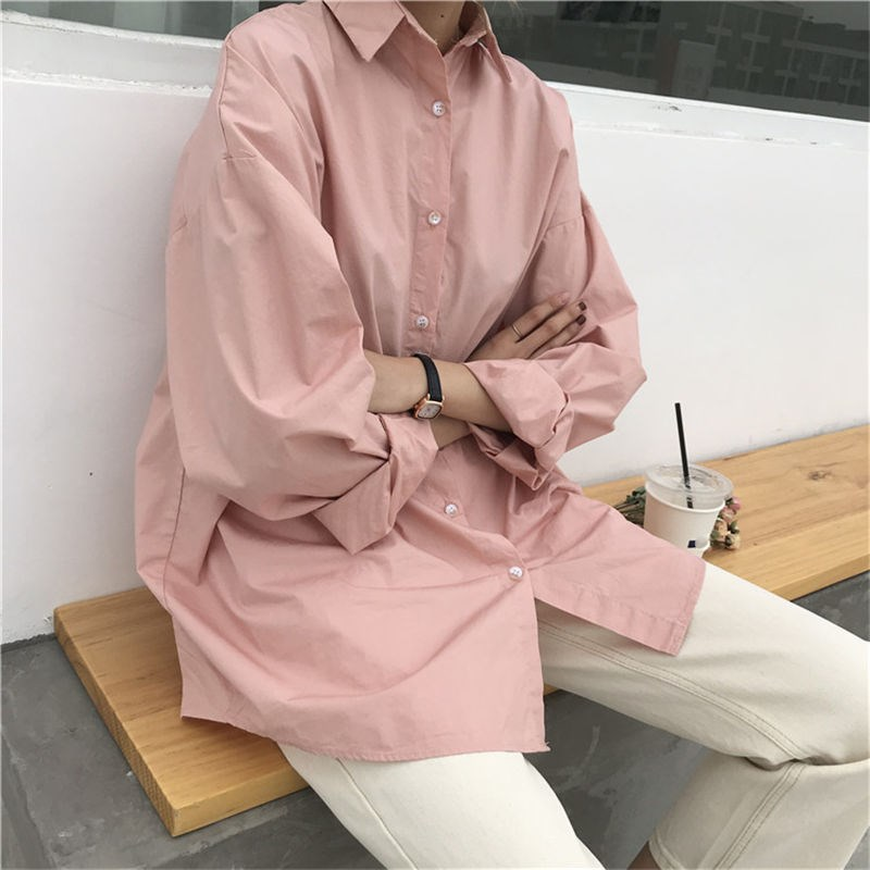 2019 Summer Spring Women Korea Casual Long Sleeve Shirts Solid Turn Down Collar Shirts 4 Colors Plus Size Blouse in Blouses amp Shirts from Women 39 s Clothing