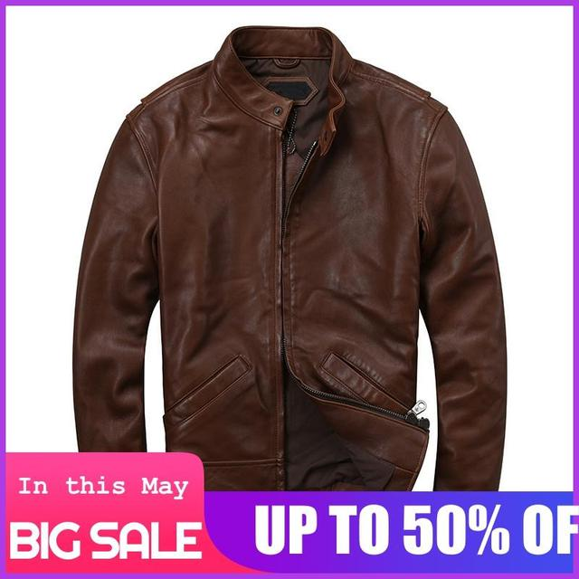 2020 Dark Brown Men Casual Leather Jacket Large Size XXXL Genuine Sheepskin Autumn Slim Fit Natural Leather Coat FREE SHIPPING