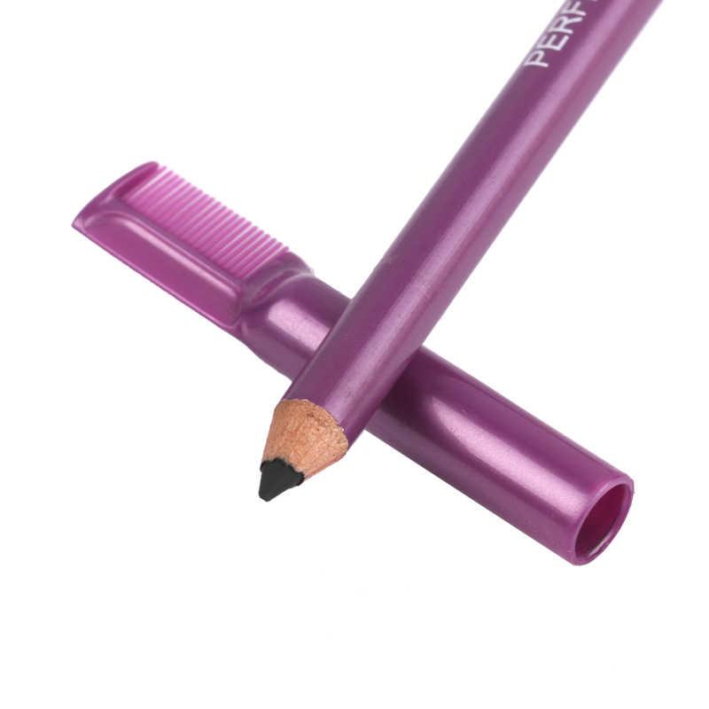 5 renk uzun ömürlü çift başlı kaş kalemi ile tarak Anti-ter su geçirmez hiçbir solmaya kozmetik kaş kalem makyaj araçları TSLM1
