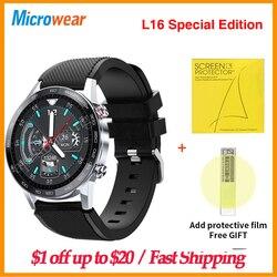 циферблаты для часов своими руками Оригинальные Смарт-часы Microwear L16 для мужчин IP68 Водонепроницаемые ЭКГ пульсометр кровяное давление 360*360 IPS...