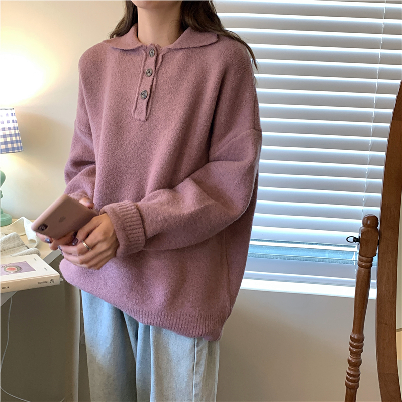 5 Colors Loose Long Sleeved Knitted Sweater Women Buttons Polos Shirts Winter 2019 Plain All Matching Fashion Forest Biome Green