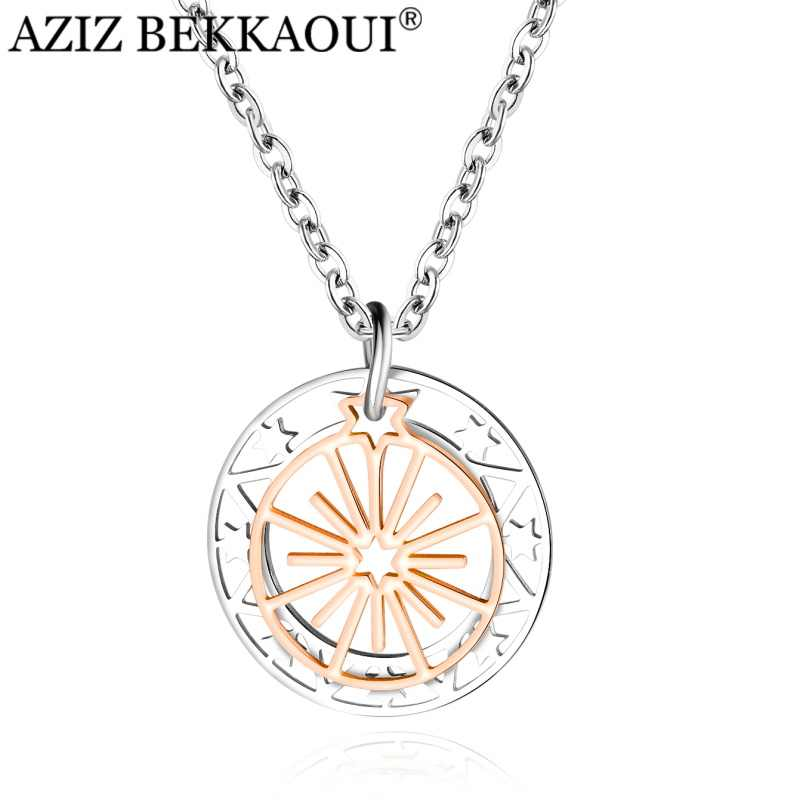 AZIZ BEKKAOUI สไตล์เรียบง่าย Rose Gold Ferris ล้อจี้คริสตัลสร้อยคอสแตนเลสสร้อยคอผู้หญิงเครื่องประดับของขวัญ