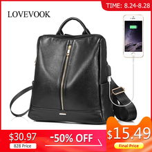 LOVEVOOK backpack women schoolbag for girls teenagers with external USB anti theft backpacks female large PU travel backpacks
