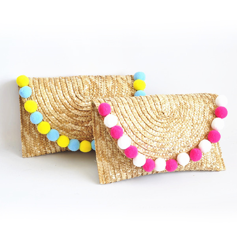 Clutch Bag Woven Women's Straw Bag Wheat Straw Braid Fur Ball Decoration Summer Wild Casual New