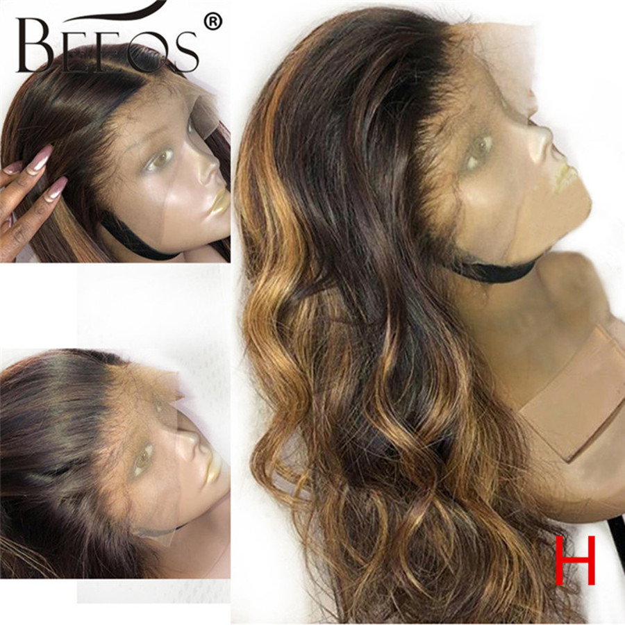Beeos High Ratio 13*6 Deep Part Lace Front Human Hair Wig Body Wave Highlight Color Hair 180%  Brazilian Remy Hair 8