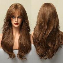 Pelucas sintéticas largas con flequillo lateral para Mujeres Afro Americanas, cabello ondulado Natural, resistente al calor, para fiesta de Cosplay, uso diario, color marrón miel