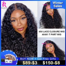 Mongolian Water Wave Wig 4x4 Lace Closure Wig Human Hair Wigs RESHINE Loose Curly 4x4 T PART Lace Front Closure Wigs For Women