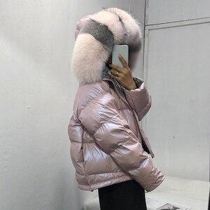 Image 3 - Nosić po obu stronach damska kurtka puchowa moda luźna lamówka nieregularne błyszczące kurtki typu Parka kobieta z kapturem ciepłe damskie kurtki zimowe