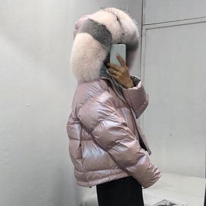 Image 3 - Wear On Both Sides WomenS Down Jacket Fashion Loose Hem Irregular Glossy Parka Coats Female Hooded Warm Ladies Winter Jackets