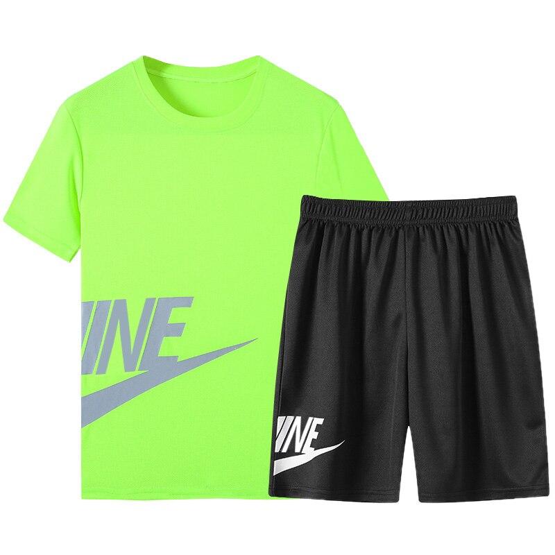 Men's T Shirt+Shorts Suit Tracksuit Male Sportswear Set 2020 Men Clothing Fitness Jogger Summer Cool 2 Pieces Sets Plus Size 5XL